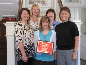 (L-R): SANEs Patti McFadden, Stephanie Gullette, Chris Phillipbar (FNE in Shreveport), Stacy King and Theresa Daniel.  Medical Services Award of Excellence presented to Dr. Terri O'Neal and SANE of Ouachita.