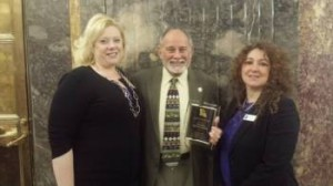 (L-R): Beth Meeks, LCADV Executive Director, Bob Kostelka, LA District 35 State Senator and Valerie Bowman, FJC Director